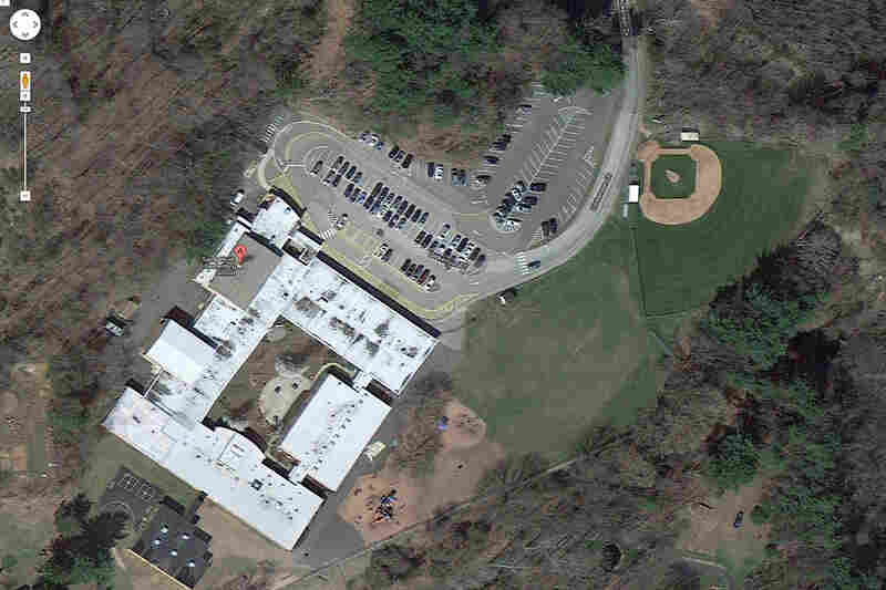 This satellite image provided by Google shows an aerial view of Sandy Hook Elementary School.
