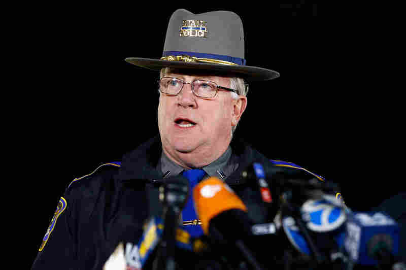 State Police spokesman Lt. J. Paul Vance briefs the media about the elementary school shooting in Newtown.