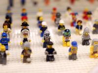 Lego minifigures are displayed on October 18, 2012 in the newly-opened store of the Danish construction toys group at the