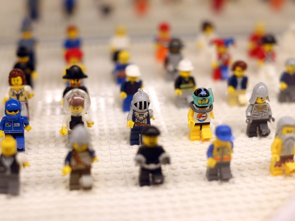 """Lego minifigures are displayed on October 18, 2012 in the newly-opened store of the Danish construction toys group at the """"So Ouest"""" shopping center in Levallois-Perret, west of Paris."""