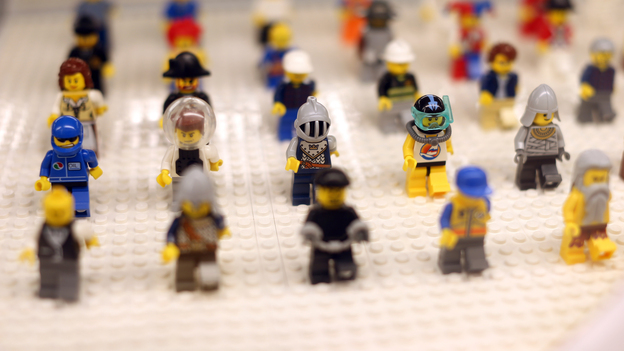 "Lego minifigures are displayed on October 18, 2012 in the newly-opened store of the Danish construction toys group at the ""So Ouest"" shopping center in Levallois-Perret, west of Paris. (Getty Images)"