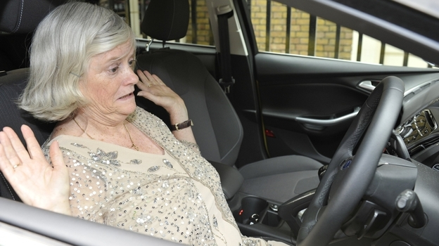 Former British politician Ann Widdecombe tests Ford's active park assist feature in the U.K. in July 2011. (Ford Motor Co.)
