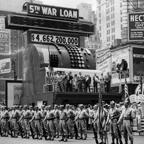 A war bond sales promotion in New York City, 1944.