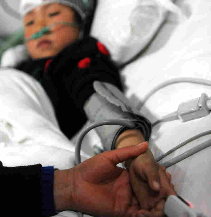 Wei Jingru, one of the students injured in today's attack, is being treated at a  hospital in central China's Henan Province.