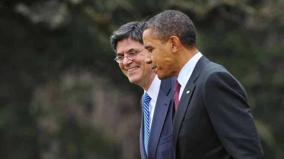 President Obama walks with White House Chief of Staff Jack Lew on March 2 on the Sou