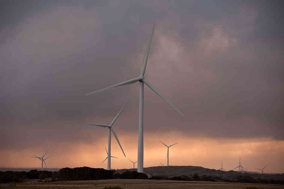 Wind generators at Pacific Hydro's Cape Bridgewater wind farm in Warrnambool, Australia, in May 2012. Each generator produces roughly enough energy to meet the annual needs of 12,000 households.