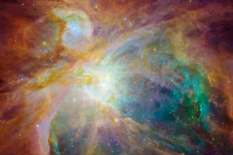 """""""The Orion nebula is the brightest spot in the sword of the Orion, or the 'Hunter' constellation. The cosmic cloud is also our closest massive star-formation factory, and astronomers believe it contains more than 1,000 young stars."""""""