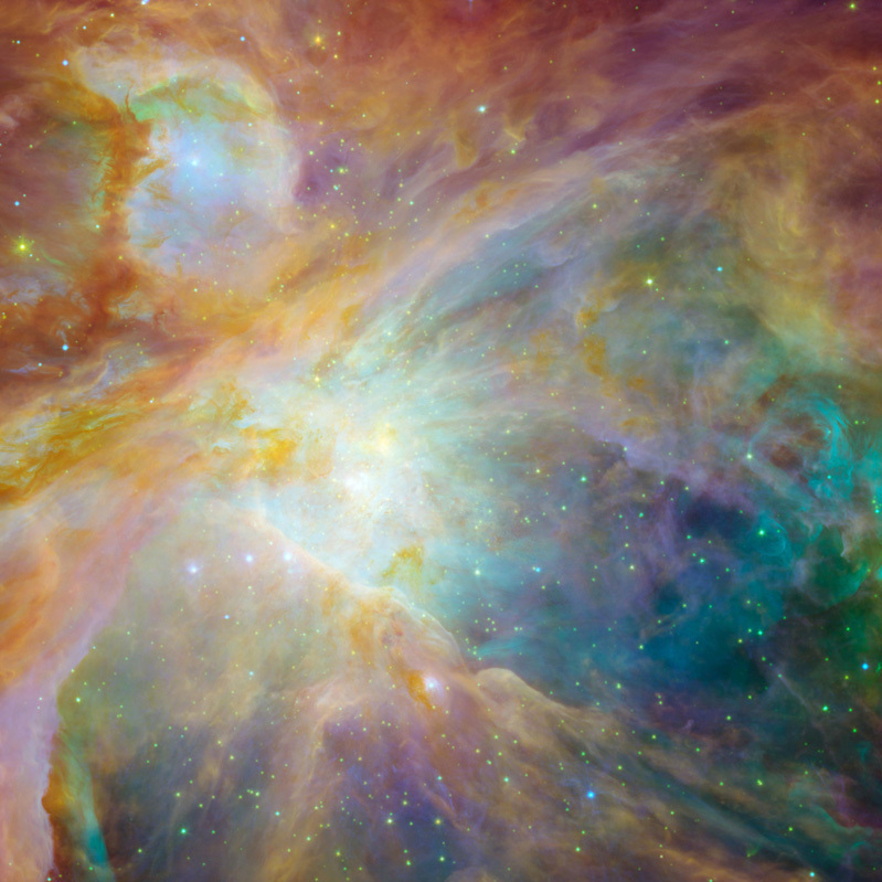 """The Orion nebula is the brightest spot in the sword of the Orion, or the 'Hunter' constellation. The cosmic cloud is also our closest massive star-formation factory, and astronomers believe it contains more than 1,000 young stars."""
