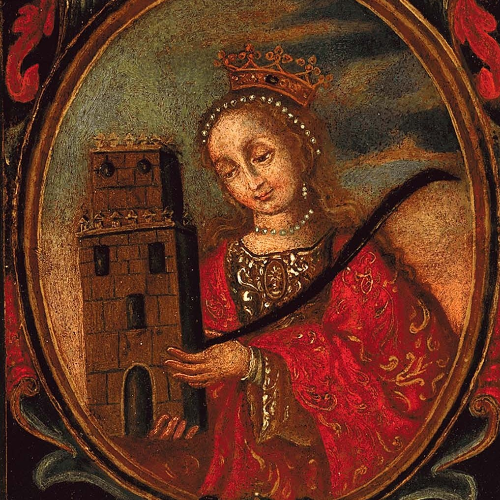 Saint Barbara is represented here with her symbols: a crown, a palm of martyrs, and the tower with three windows where she was incarcerated before being beheaded at her father's order. (Oil on wood panel, Teodoro Vidal Collection)