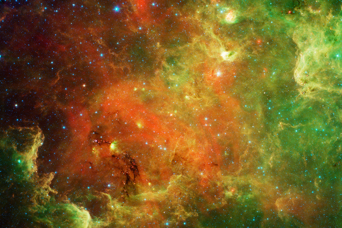 This swirling landscape of stars is known as the North American nebula.