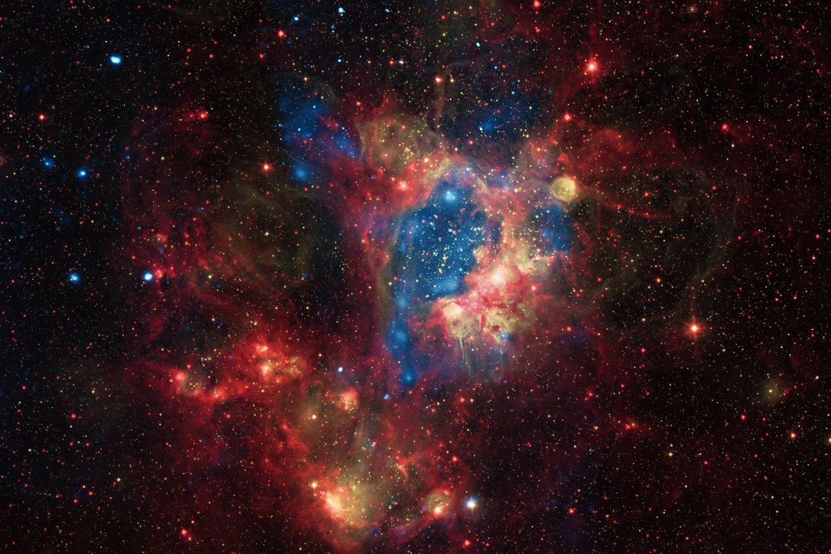 """""""[In] a small satellite galaxy of the Milky Way located about 160,000 light-years from Earth, [many] new stars, some of them very massive, are forming in the star cluster NGC 1929."""""""
