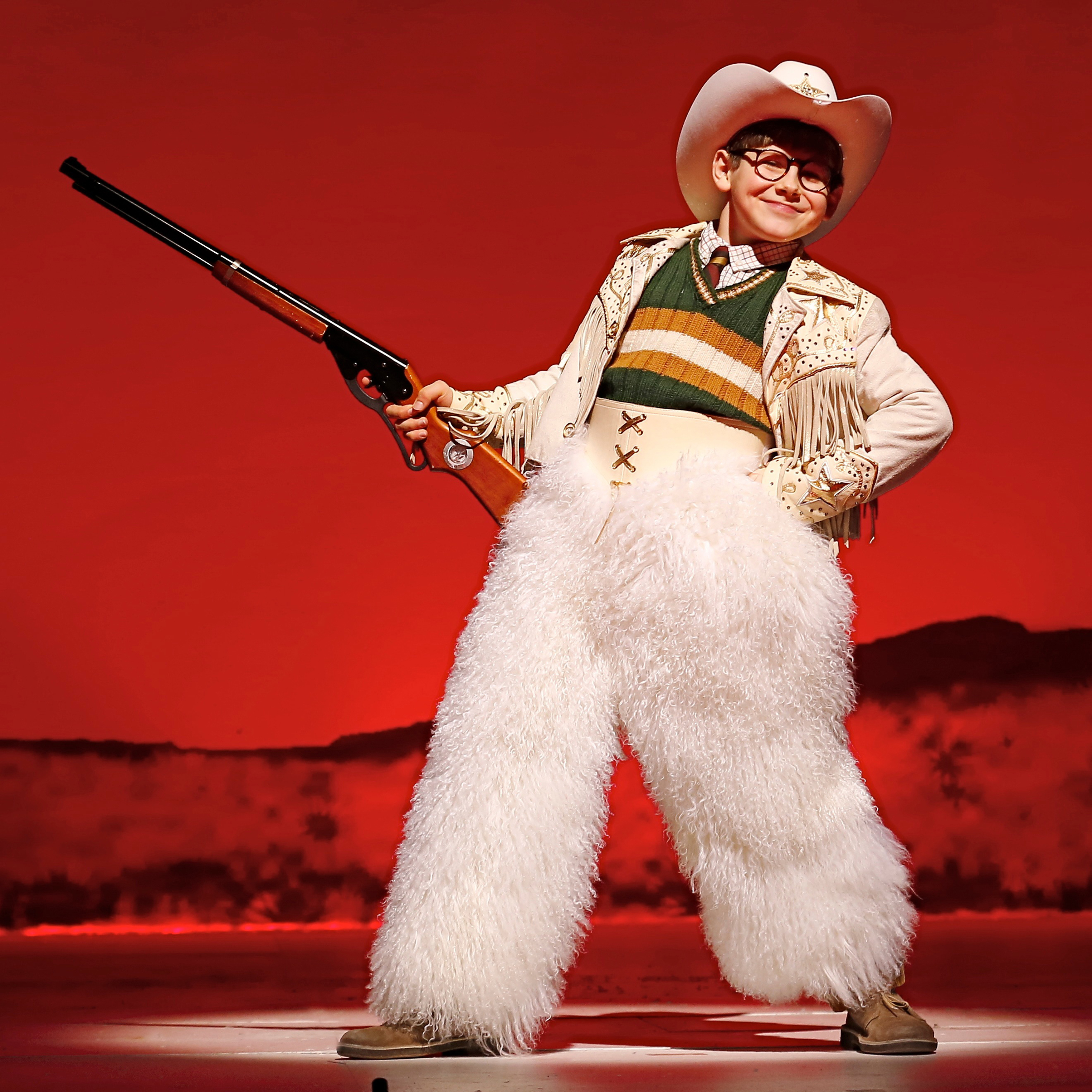 In A Christmas Story, Johnny Rabe plays Ralphie Parker, a boy who wants only one thing for Christmas: an official Red Ryder Carbine-Action 200-shot Range Model Air Rifle.