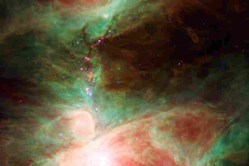 """This image ... shows what lies near the sword of the constellation Orion — an active stellar nursery containing thousands of young stars and developing protostars."""