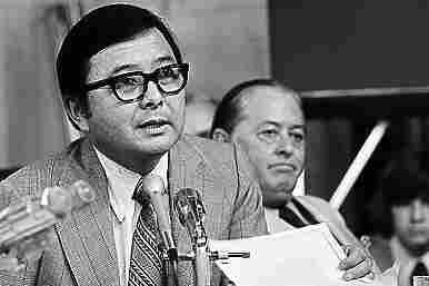 Inouye and Sen. John M. Montoya, D-N.M., are shown during the Watergate Senate hearings on Capitol Hill, Aug. 2, 1973.