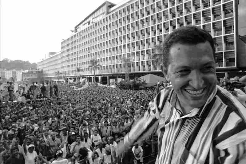 Chavez addresses a crowd in Caracas on Feb. 4, 1998, the anniversary of the failed 1992 coup that would launch his military career.