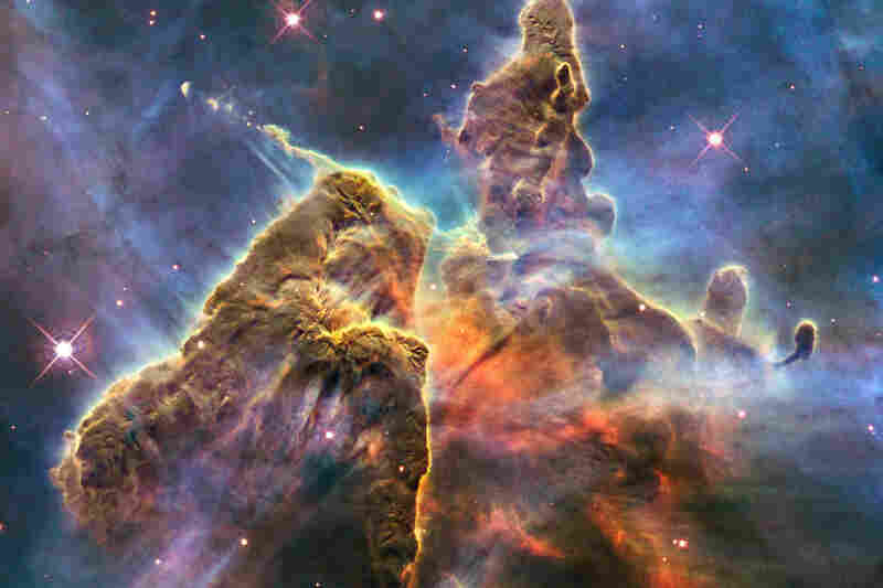 """A small portion of one of the largest seen star-birth regions in the galaxy, the Carina Nebula."""