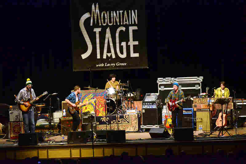 Even with a slightly stripped-down setup on Mountain Stage, Dr. Dog's members play a wide variety of instruments.