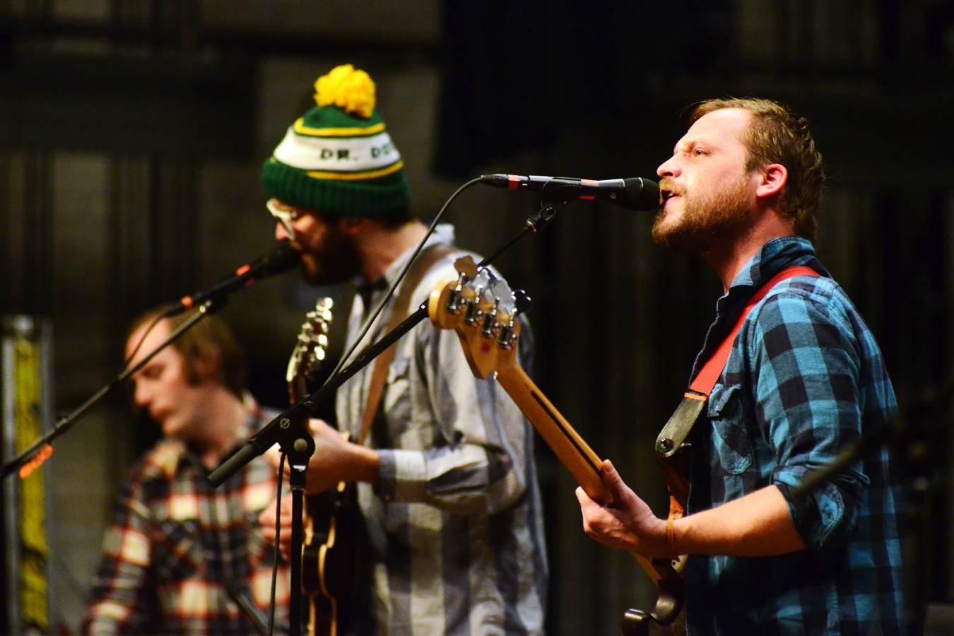 Bass player Toby Leaman shares most singing duties with guitarist Scott McMicken, but all of Dr. Dog's members contribute harmonies.