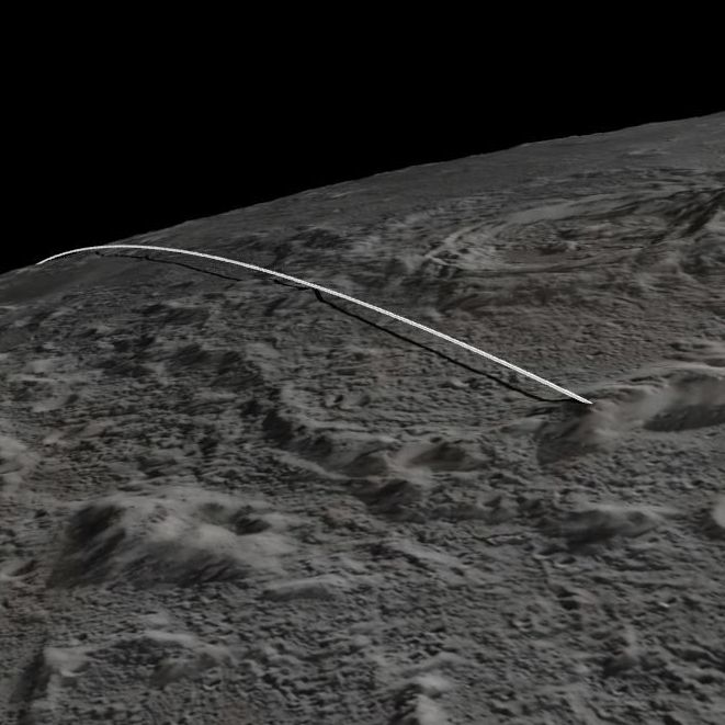 This image from a NASA animation shows the final flight path for NASA's twin lunar-orbiting spacecraft when they crashed into the surface of the moon on Monday.