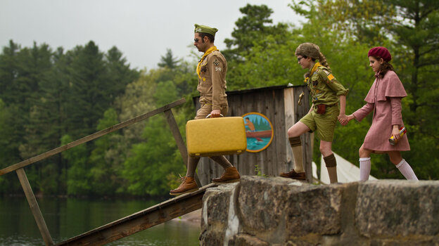 Cousin Ben (Jason Schwartzman), Sam (Jared Gilman) and Suzy (Kara Hayward) show that nothing can stand in the way of young love in Wes Anderson's Moonrise Kingdom.
