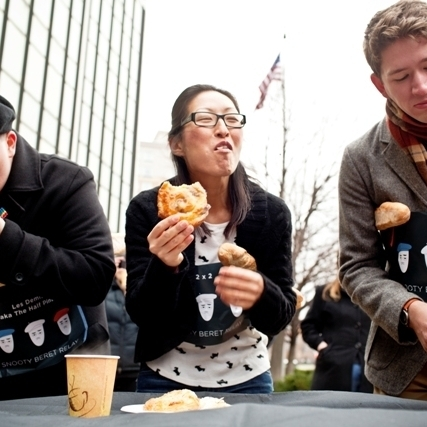 First Stop: Pastry Eating Contest. News Apps Developer Jeremy Bowers, Mobile Product Manager Jen Oh and Digital Media Intern Curtis Bard get the race off to a quick start as they make their way through four pastries. Apparently some NPR staffers are better at savoring their food than scarfing it down: mid-way through, the requirement for completing the challenge was reduced to just two pastries.