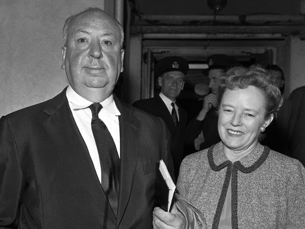 Alfred Hitchcock pictured with his wife, Alma Reville. The couple's romance stands at the center of the 2012 film <em>Hitchcock</em>.