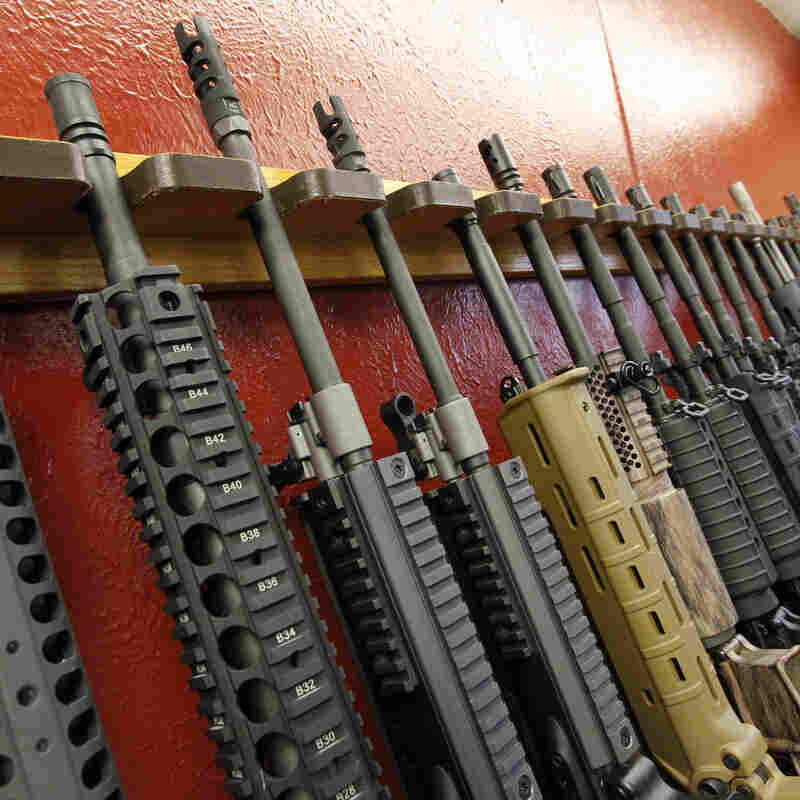 Rifles are displayed for sale at a gun shop in Aurora, Colo., in July. Gun makers are feeling isolated by changing public attitudes.