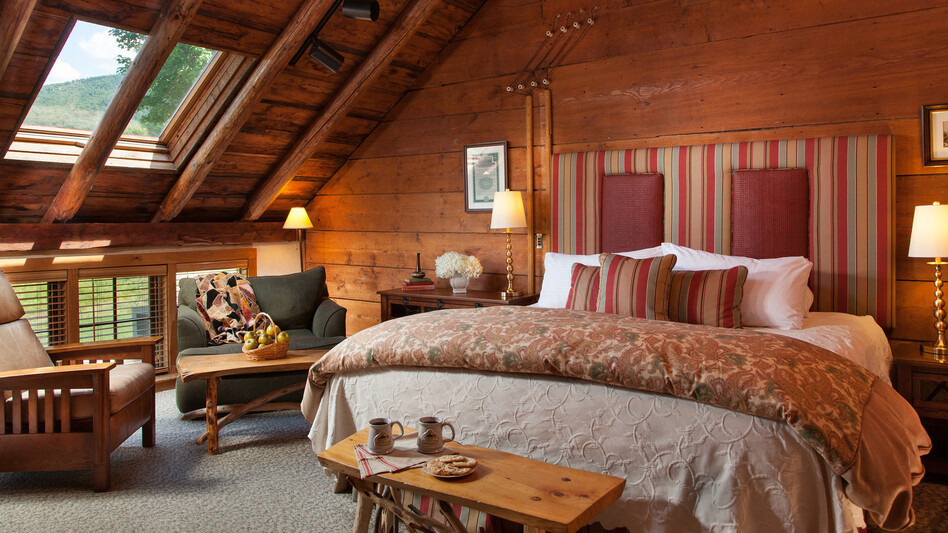 Innkeepers are combating old stereotypes about bed and breakfasts. The Richardson Room at the Round Barn Farm in Waitsfield, Vt., was renovated this year to reflect more more modern tastes. (Jumping Rocks)
