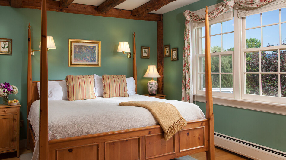 Innkeepers are combating old stereotypes about bed and breakfasts. The Abbott Room at the Round Barn Farm in Waitsfield, Vt., was renovated in 2009 to reflect more modern tastes. (Jumping Rocks)