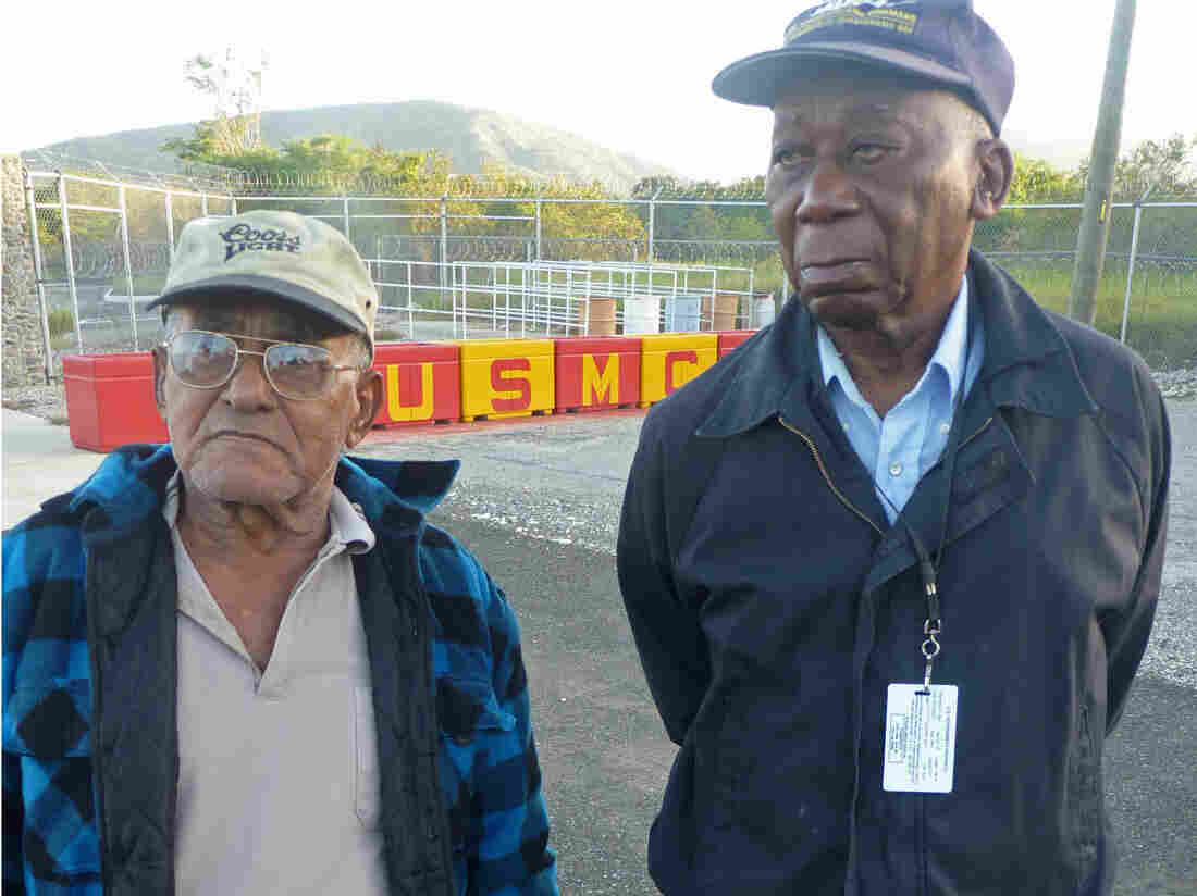 Luis La Rosa, left, and Harry Henry on one of their last days at work on the U.S. Naval Station Base in Guantanamo Bay, Cuba.