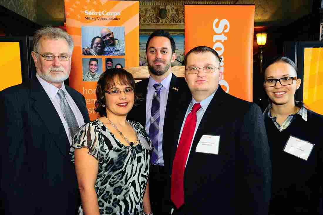Several StoryCorps participants gathered to celebrate the Military Voices Initiative at the Library of Congress in Washington, D.C. earlier this month. From left to right: Gordon M. Bolar, Sergeant Papsy Lemus, Matt Colvin, Specialist Justin Cliburn and Specialist Jessica Pedraza.