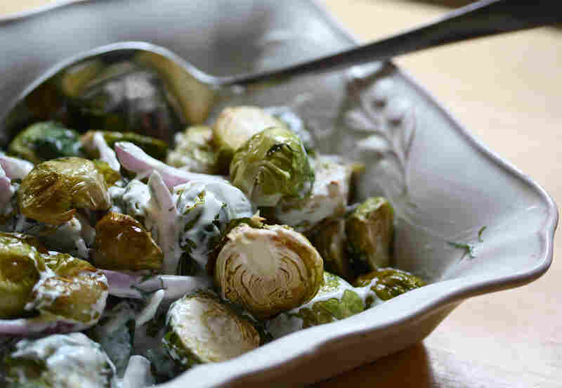 Roasted Brussels Sprouts With Greek Yogurt-Lemon Sauce