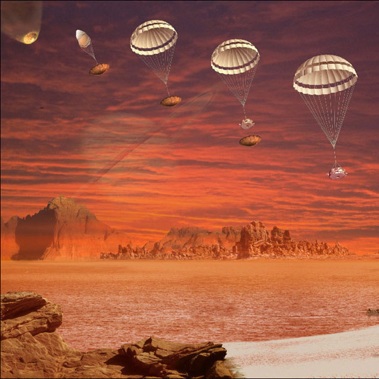 An artist's concept showing the descent and landing of the Huygens probe on Titan in January 2005.