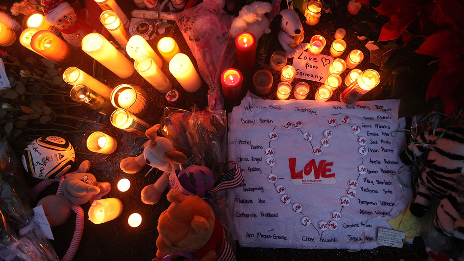 In Newtown: A memorial to the victims. (Mario Tama/Getty Images)