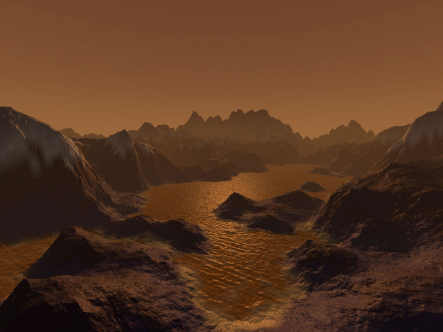 An artist's imagination Saturn's orange moon Titan.