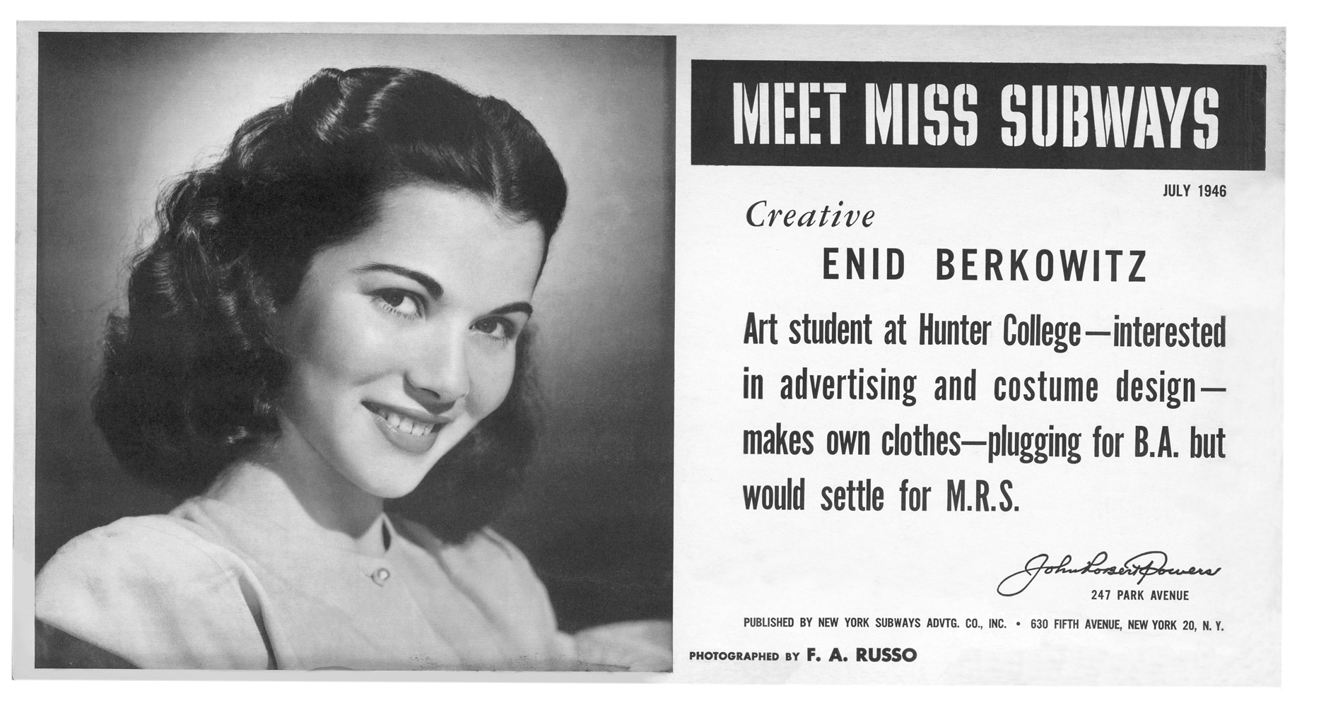 Enid Berkowitz, now in her 80s, was Miss Subways in July 1946.
