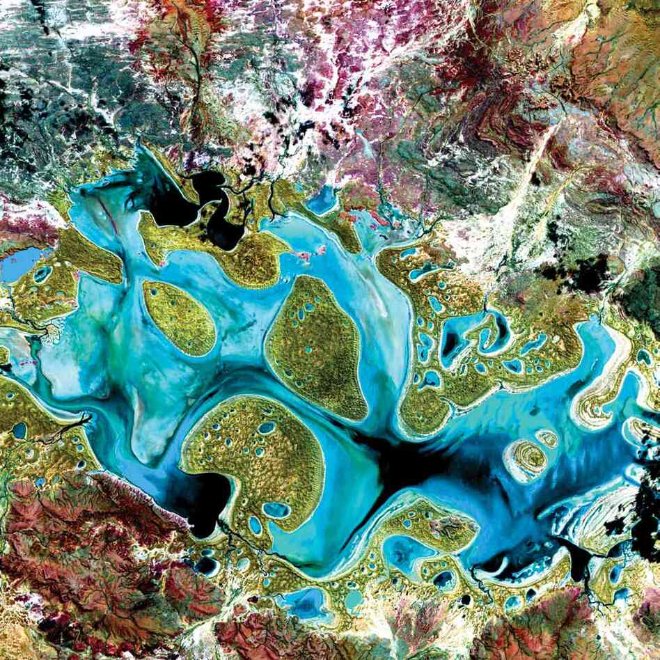 Carnegie Lake, Australia, 1999Carnegie Lake in Western Australia fills with water only during periods of significant rainfall. In dry years, it is reduced to a muddy marsh. Flooded areas appear dark blue or black, vegetation appears in shades of dark and light green, and sands, soils and minerals appear in a variety of colors.