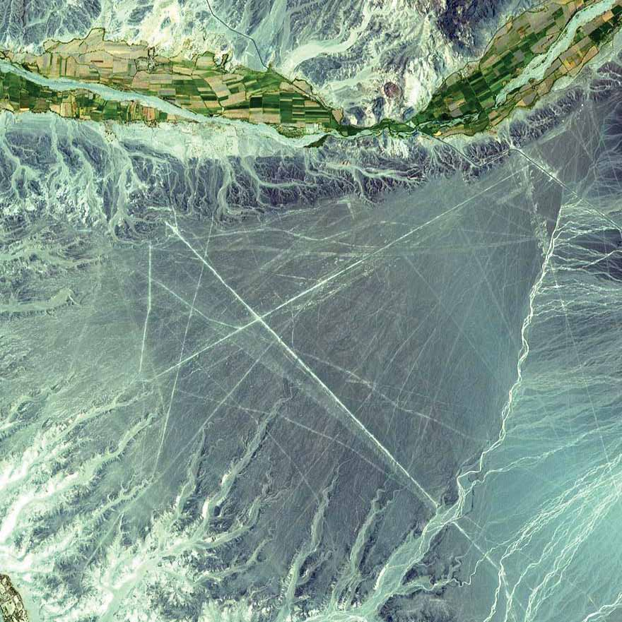 Nazca Lines, Peru, 2000The ancient geoglyphs, located in southern Peru, are estimated to be created by the Nazca culture between 400 and 650 A.D. The Nazca Lines were made by removing reddish iron-oxide pebbles that cover the surface of the desert. When the gravel is removed, the lines contrast with the light color underneath.