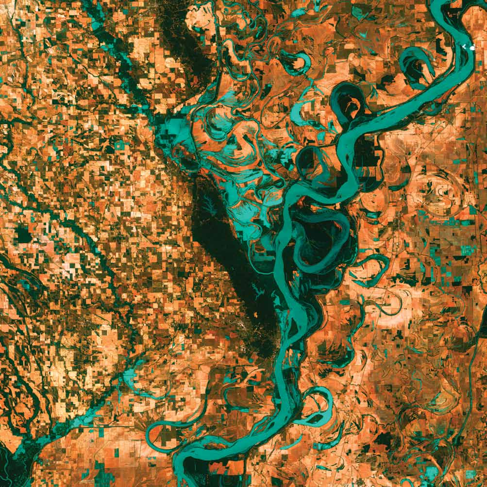 Meandering Mississippi, U.S., 2003Graceful swirls and whorls of the Mississippi River encircle fields and pastures on the border between Arkansas and Mississippi. The Mississippi is the largest river system in North America and forms the second largest watershed in the world.