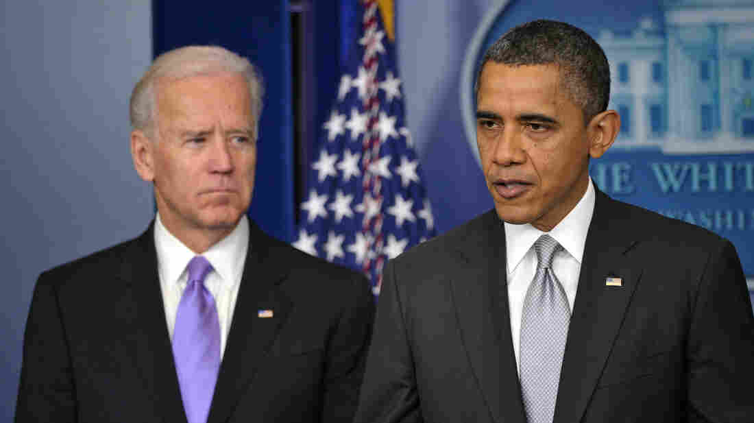 Vice President Biden watched as President Obama spoke earlier today in the White House briefing room.