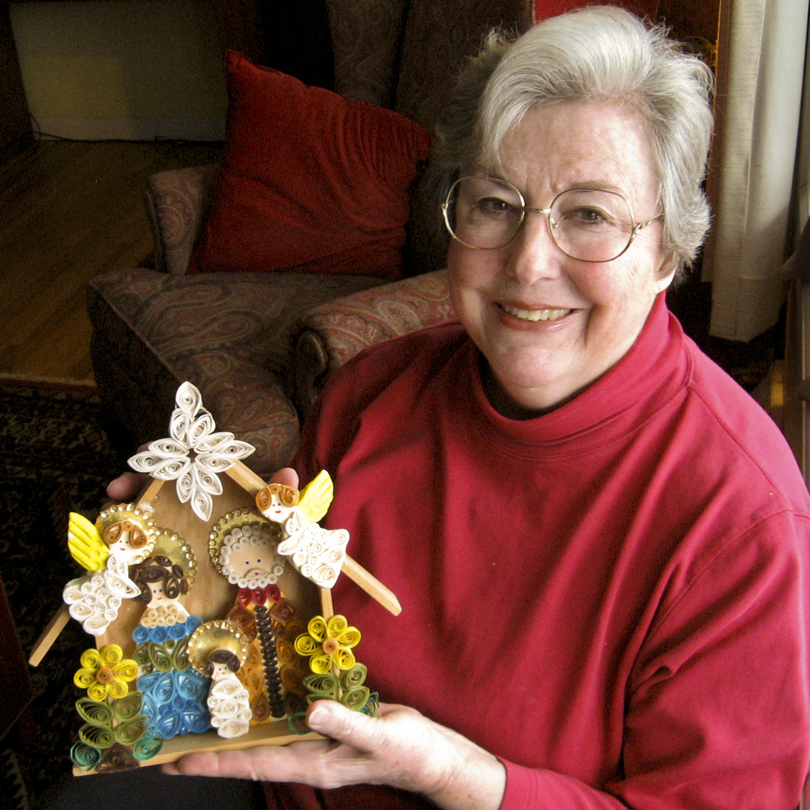 Dixon with one of the estimated 1,450 Nativities that she hopes to one day include in a museum.