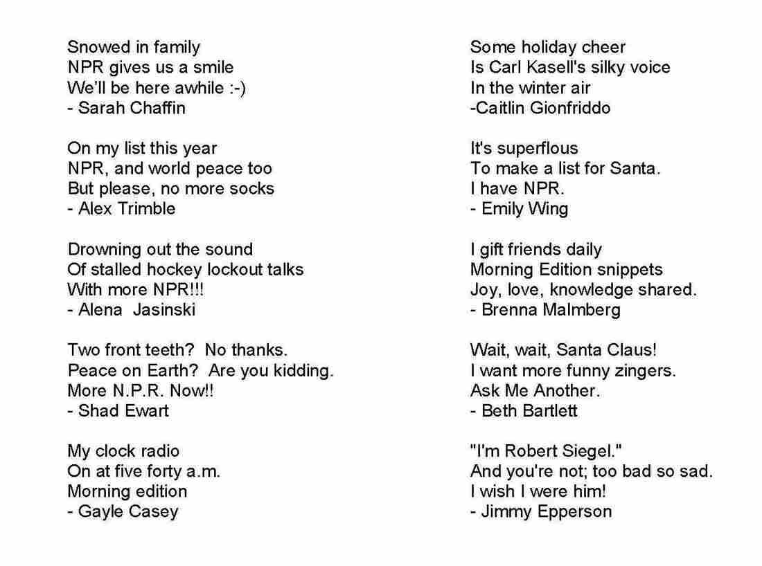 Listener-submitted haikus.