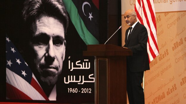 Libyan President Mohammed el-Megarif speaks during a memorial service in Tripoli for U.S. Ambassador to Libya, Chris Stevens, and three consulate staff killed in Benghazi on Sept. 11.