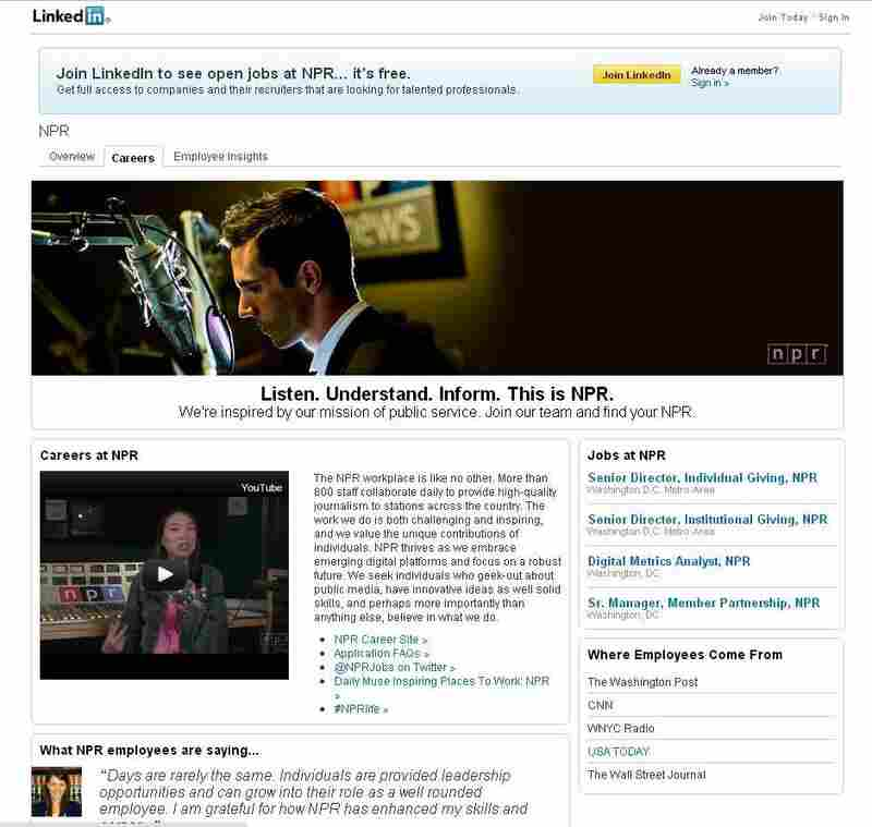 Screenshot of the redesigned NPR LinkedIn page.