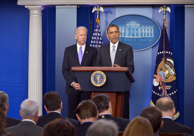 President Obama, with Vice President Biden at his side on Wednesday, at a news conference about gun violence that became dominated by questions of the fiscal cliff.