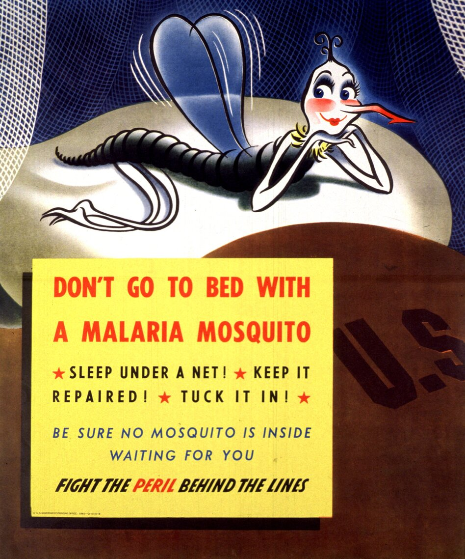 More than half of the soldiers in the Pacific caught malaria. This poster from 1944 helped remind troops to avoid mosquitoes that transmit the parasite. (Courtesy of Images from the History of Medicine)