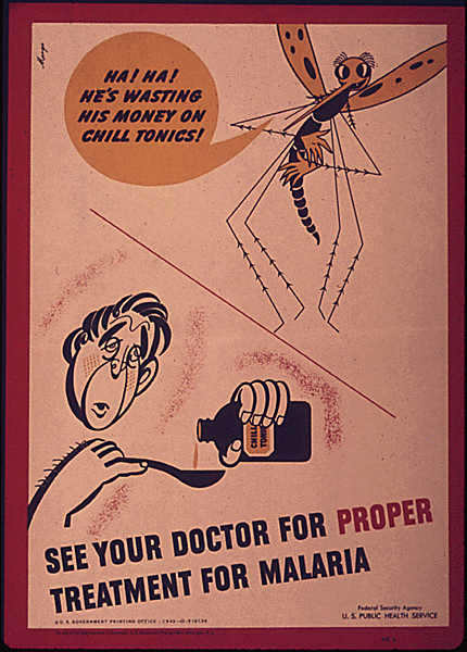Mosquitoes transmit the malaria parasite, but when people aren't treated, they help the disease to spread. This public health poster, which was also printed by the U.S. Public Health Services during World War II, was aimed at stopping malaria on the homefront.