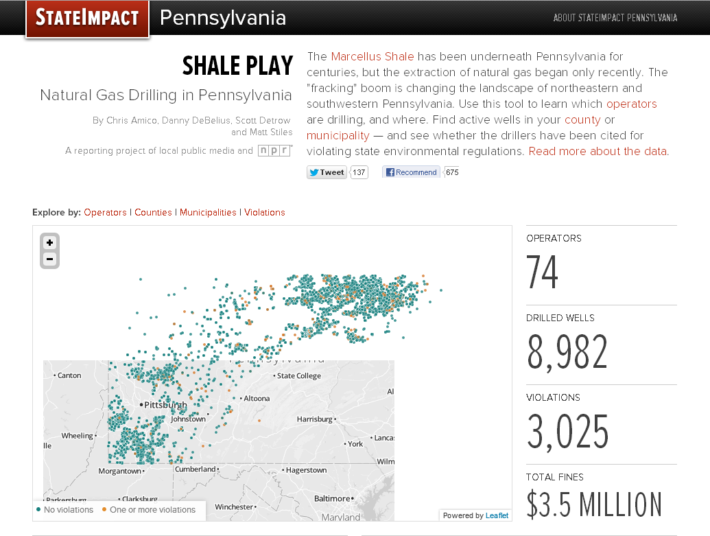 StateImpact Pennsylvania developed this interactive map to show which natural gas operators are drilling, and where; find active wells in a county or municipality; and see whether the drillers have been cited for violating state environmental regulations.