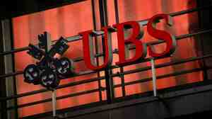 The logo of Swiss banking giant UBS in Zurich, Switzerland.