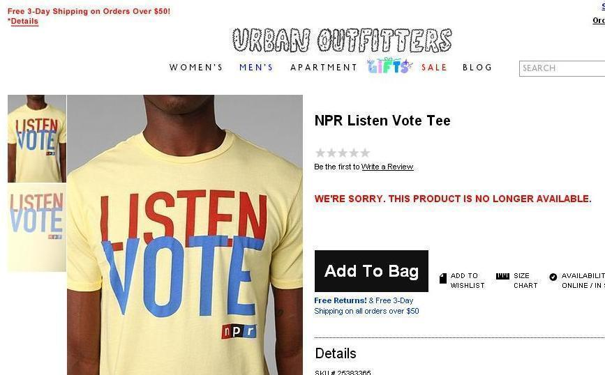 NPR Listen Vote Tee sold online at Urban Outfitters.